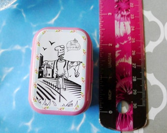 Scarecrow Small Metal Box to Stash Small Items and Notions, Black and White w Pink Sides and Back Line Drawing Straw Man Garden or Farm