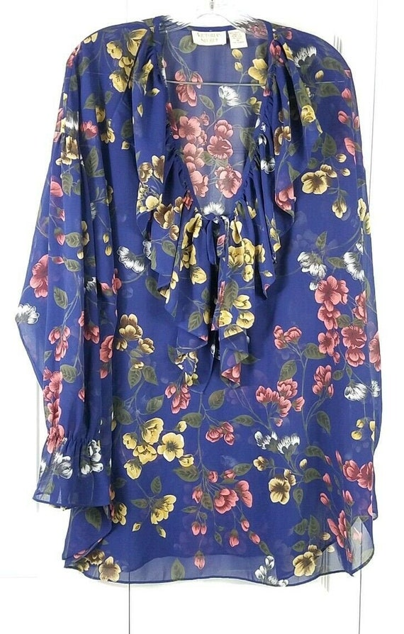 VICTORIA'S SECRET womens VTG blue floral ruffled l