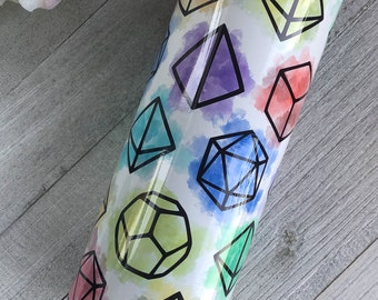 Watercolor Polyhedral Dice Travel Tumbler 22 ounce