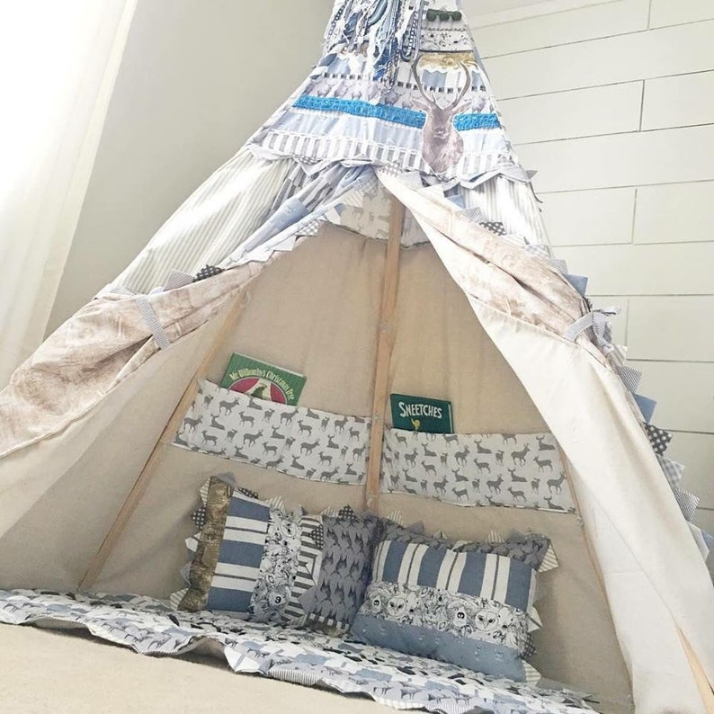 deer inspired teepee kidsteepee woodland inspired teepee teepee childrens teepee BOY TEEPEE 8ft