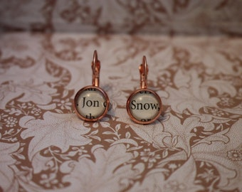 Jon Snow Earrings ~ A Game Of Thrones ~ You Know Nothing ~