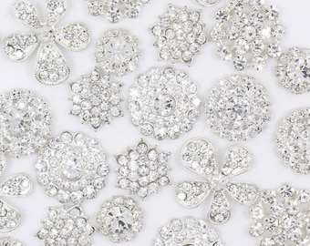 Craft Buttons Clear Rhinestone Button Silver Rhinestone Flat Back Set Clear Rhinestone Flat Back Button Lot Crystal Button Metal Button Set
