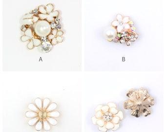 Pearl Rhinestone Flat back Rhinestone Button Set Rhinestone Pearl White Flower Flatback Button Wedding Embellishments Ivory Floral Flat Back