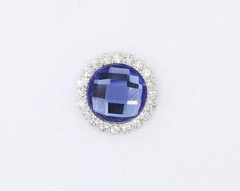 5/10/20pcs 20mm Blue Rhinestone Embellishment Round Metal Button DIY Wedding Bridal Invitation Wholesales Supply