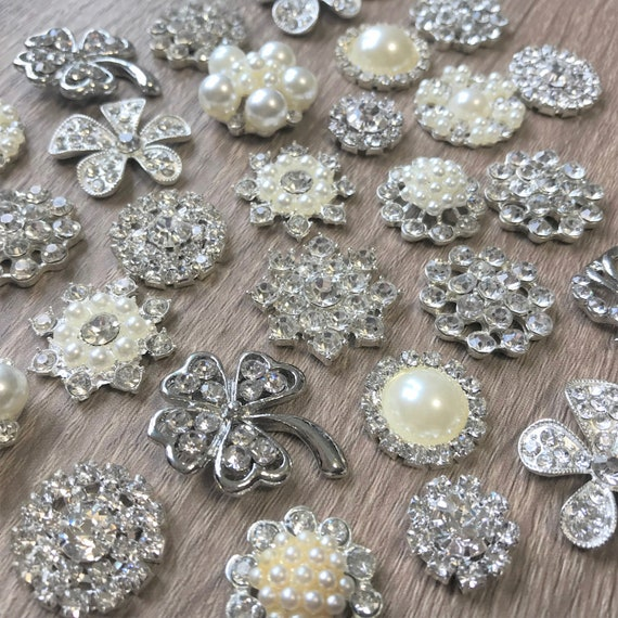 4 Sets Alloy Brooch Pin Rhinestone Decor Button for Women Jewelry Crafts