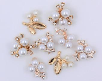 Gold Pearl Rhinestone Flatback Embellishment For DIY Wedding Brooch Bouquet Decoration Wedding Invitation