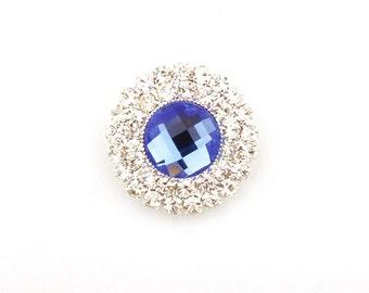 5/10/20pcs 21mm Royal Blue/Clear/Teal Rhinestone Embellishment Round Metal Button DIY Wedding Bridal Invitation Wholesales Supply