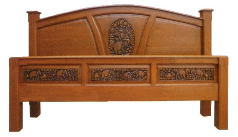 . Modern king   queen size carving teak wood platform bed frame design with  elephants details