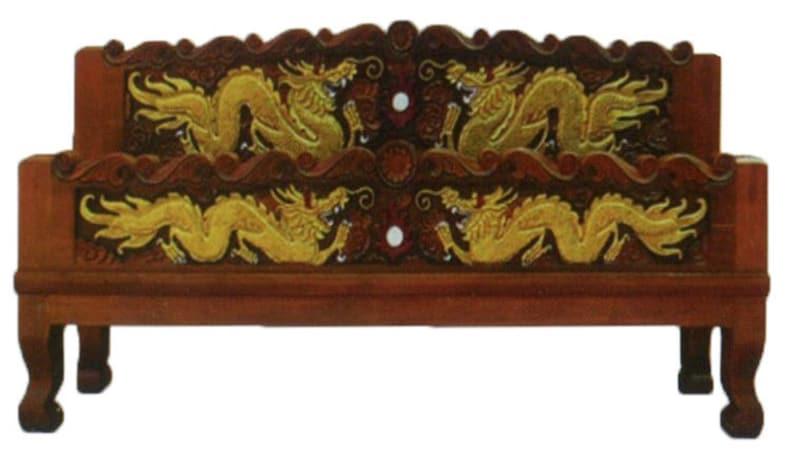 . Modern king   queen size carving solid teak wood platform bed frame design  with golden dragons