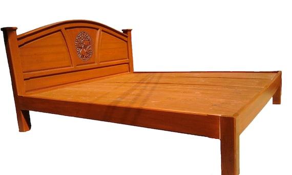 King Queen Size Carving Teak Wood Platform Bed Frame Design With Elephants Details