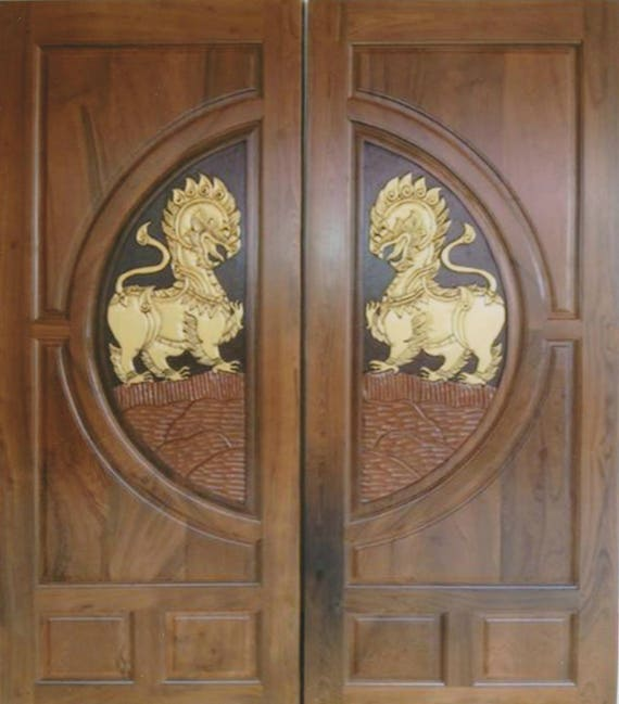 Carved Teak Wood Interior Exterior Entry Entrance Front French Double Doors Design With Ieo