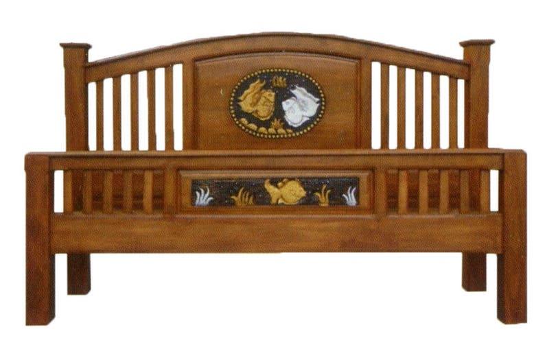 . Modern king   queen size carving solid teak wood platform bed frame design  with fish details