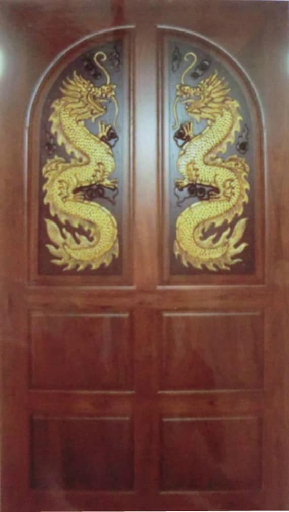 Carved Teak Wood Interior Exterior Entry Entrance Front French Doors Design With Double Dragons I