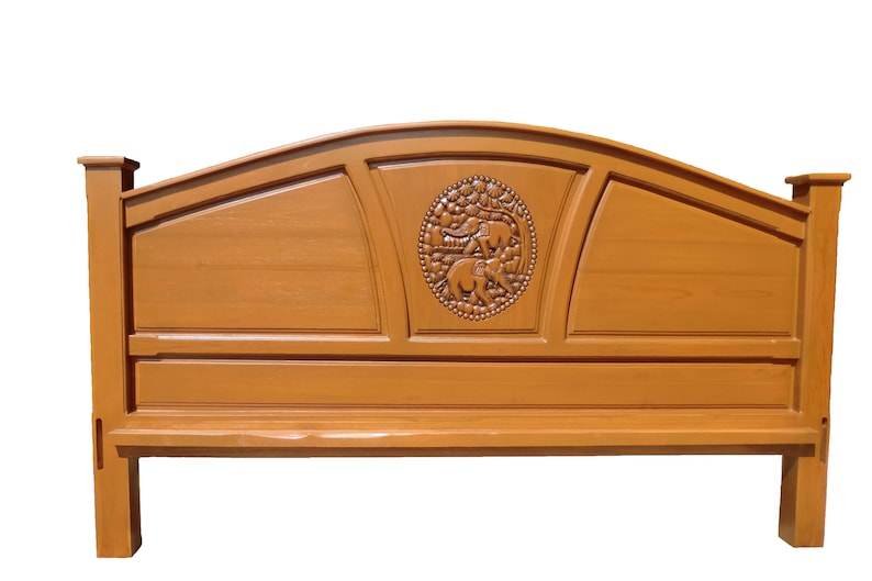 King Queen Size Carved Teak Wood Headboard With Elephants Etsy