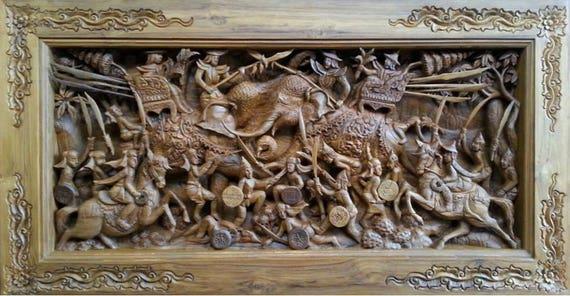Medium Carved Teak Wood Wall Art Decor 3d Panel With Beautiful Elephant Duel Details