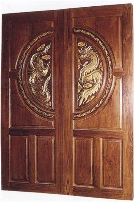 Carved teak interior exterior entry entrance front french double doors with dragon u0026 rooster. from Edvena on Etsy Studio & Carved teak interior exterior entry entrance front french double ...