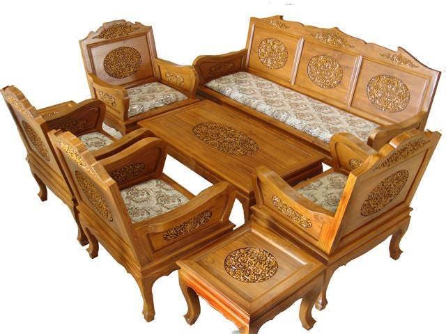 Carved Teak Wood Living Room Furniture, Beautiful Living Room Furniture Sets