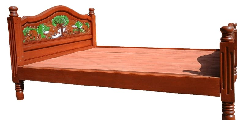 . Modern king   queen size carving teak wood platform bed frame design with  elephant I details