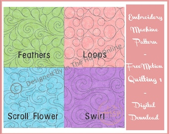 Free Motion Quilt Blocks 1 In The Hoop Machine Embroidery Design