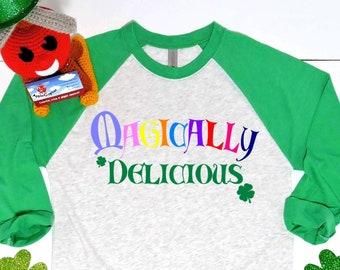 592c3bc1 Magically Delicious Raglan Shirt, Funny St. Patricks Day Shirt, Humorous  Irish Holiday Shirt, Ladies Rainbow Shirt, Irish Shirt, Applecopter