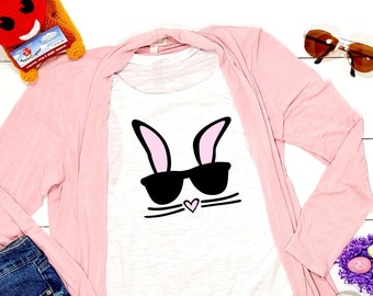a69696ff95ed9 Bunny Face With Sunglasses Shirt, Ladies Easter Bunny Shirt, Easter Parade  Outfit, Girls Bunny Costume, Pink Bunny Ears, Easter, Applecopter