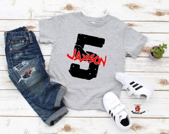 Fifth Birthday Shirt Boy PERSONALIZED 5th Rock Star Themed Boys Grunge Party Outfit Applecopter