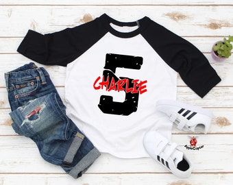Fifth Birthday Shirt Boy PERSONALIZED 5th Rock Star Themed Boys Grunge Raglan Applecopter