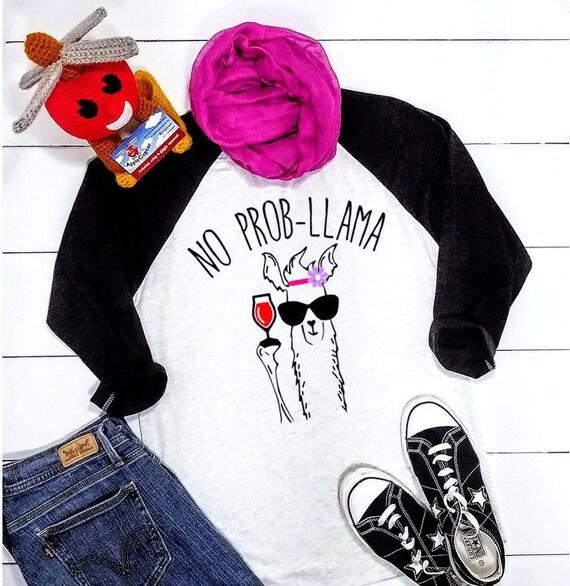 beca3a40 Llama Mama Shirt No Prob Llama Graphic Tee No Probllama T   Etsy