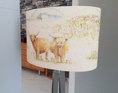 Highland Cow Lampshade, Highland Cattle Country fabric by Voyage, various sizes available, Scottish Style, Handmade Lampshade