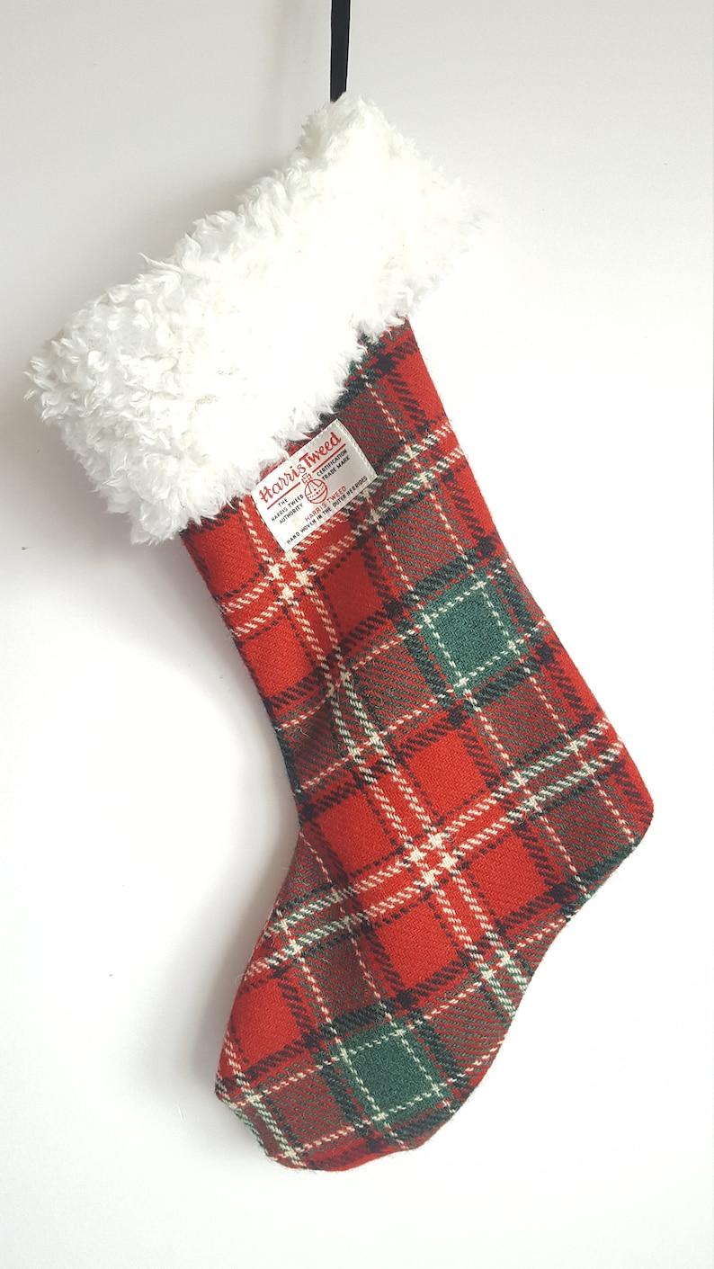 Harris Tweed Christmas Stocking, Scottish Gift, Tartan Christmas Stocking,  Christmas Eve Decoration, Holiday Stocking, Xmas Stocking