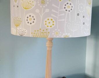 Grey Lampshade with mustard yellow, dark grey and white Scandinavian floral design, Nordic, Scandi lampshade, Scandi style