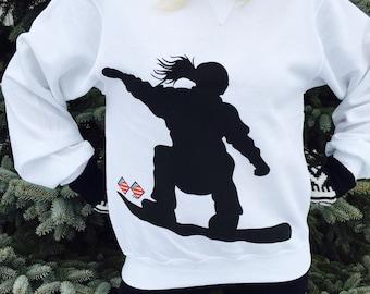 SNOWBOARDING GIRLS SWEATSHIRT, Girls Snowboard Shirt, Snowboarding Tee