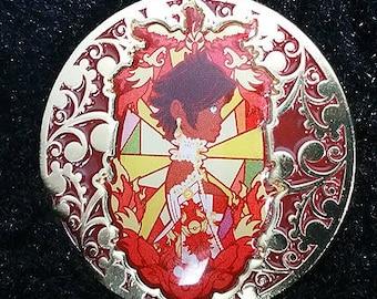 Pokemon Go Team Valor Rococo Baroque Art Nouveau Inspired Gold Lapel Pin Badge  1.5in Candela Moltres Red Team