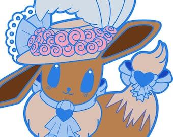 Pokemon Inspired Eevee Kiss Cut Stickers Sheet Two Pack Shiny Kawaii Steampunk Rococopunk Go Sword Shield Eeveelution Laptop Decal