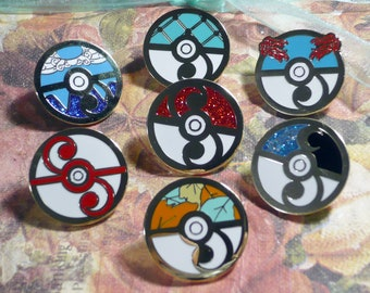 6 Pin Set Pokemon Rococo Baroque Art Nouveau Inspired Pokeball Hard Enamel Lapel Pin Rococopunk Georgian Cloisonne