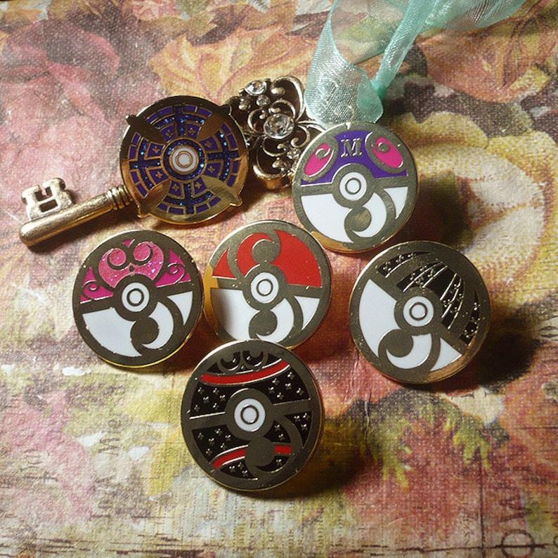 6 Pin Set Pokemon Rococo Baroque Art Nouveau Inspired Pokeball image 0