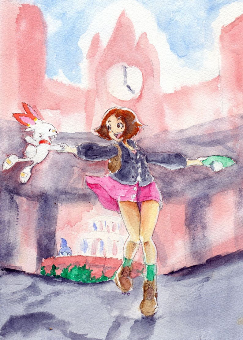 Pokemon Sword And Shield Inspired Fan Art Watercolor Painting image 0
