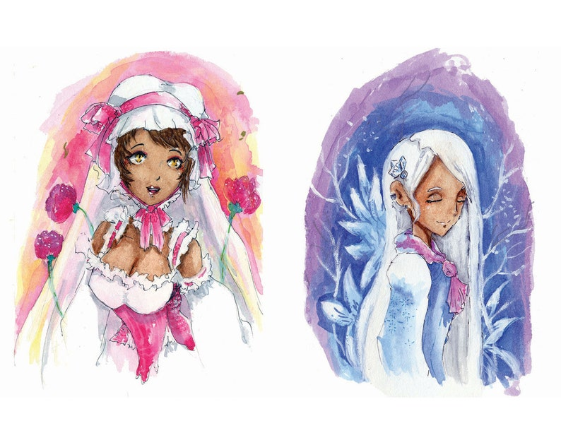 Summer and Winter Rococo Inspired Fantasy Illustration image 0