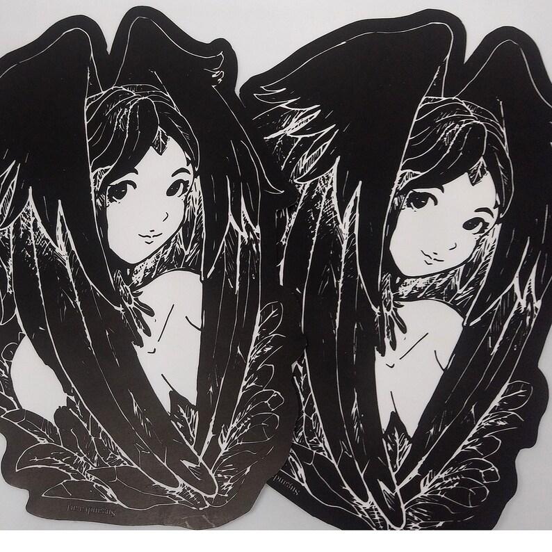 6 inch 15CM Gothic Raven Bird Woman Monotone Pinup Girl image 0