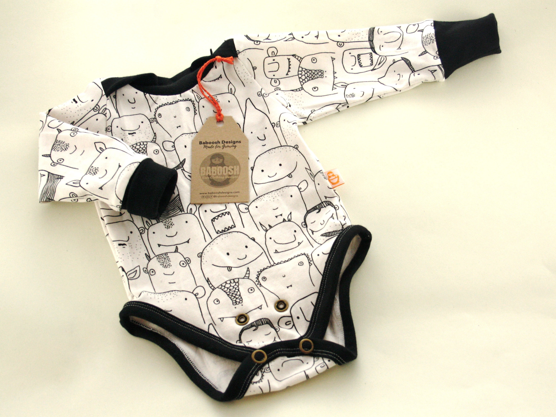 9597af56 Black and White Baby Bodysuit Unisex Baby Romper Handmade | Etsy