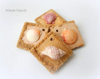 Rustic Seashell Wooden Ornaments/Gift Tags with Pre-Drilled Holes - Set of Four