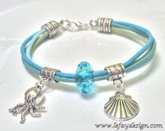 Sea Side,Leather bracelet with marine creatures, shell bracelet, squid bracelet, beach bracelet summer bracelet,marine bracelet