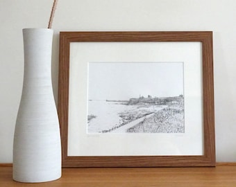 ONLY 1 LEFT! Tynemouth Priory and pier from King Edward's Bay, original drypoint etching, landscape print, wall art