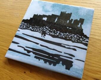 Ceramic coaster of Bamburgh Castle, Northumberland