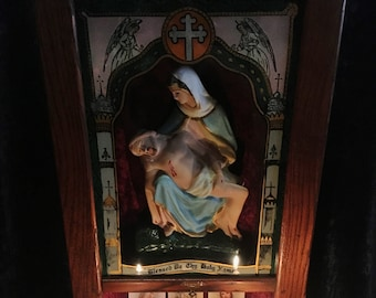Antique Victorian Immaculate And Sacred Heart Wall Shrine / Last Rights Altar