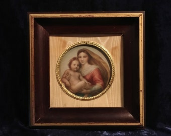 Beautiful Victorian Madonna And Child Lithograph From The 1920's In Original Wooden Frame