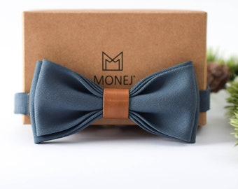Blue Bow Tie for Men, Wool and Leather Bow Tie, Pre Tied Bow Tie, Blue Wedding Necktie for Groom / Groomsmen, Gift for Men