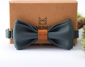 Grey Bow Tie for Men, Wool and Leather Bow Tie, Pre Tied Bow Tie, Grey Wedding Necktie for Groom / Groomsmen, Gift for Men
