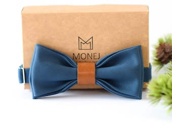 Blue Bow Tie for Men, Wool and Leather Bow Tie, Pre Tied Bow Tie, Rustic Boho Wedding Necktie for Groom / Groomsmen, Gift for Men
