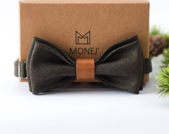 Brown Bow Tie for Men, Wool and Leather Bow Tie, Pre Tied Bow Tie, Brown Wedding Necktie for Groom / Groomsmen, Gift for Men